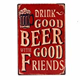 beer bar signs - Ochoice Vintage Beer Signs with Drink Good Beer Signs for Bar Decoration 8