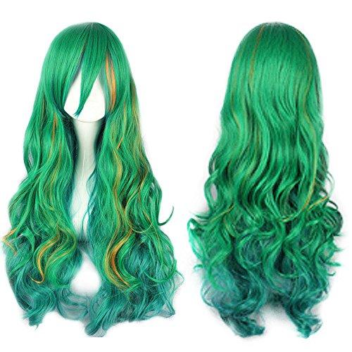 Mersi Long Green Wig Halloween Costume Wigs for Women -