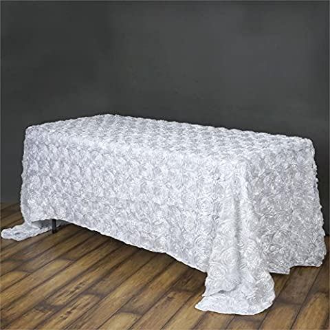 Doolova 90''x132'' WHITE Wholesale Grandiose Rosette 3D Satin Tablecloth For Wedding Party Event (How Do You Use Th)