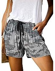 Acelitt Women Comfy Drawstring Casual Elastic Waist Pocketed Shorts,S-XXL