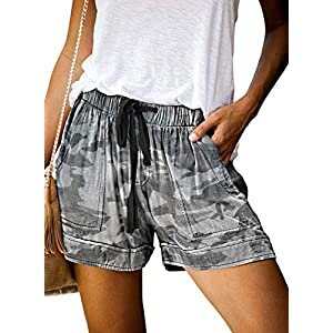 Acelitt Women Comfy Drawstring Casual Elastic Waist Pocketed Shorts Pants (S-XXL)