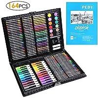 PEDY 164 PCS Crayon de Couleur Professionnel,Set de Dessin Enfant,Set de Peinture,48*Crayons de Couleur, 48*Pastels à L'huile,24*Mini Crayons de Couleur,Cadeau Idéal pour enfants,Artiste,Amateurs