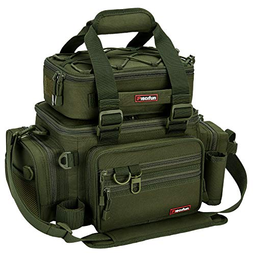 Piscifun Outdoor Fishing Tackle Box Bag Military-Grade Multifunctional Large Storage Tackle Pack (Color Army Green Without Trays)