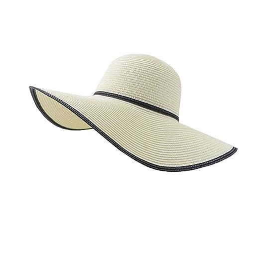 ZX Gorras Sombrero De Paja para Mujer, con ala Ancha, Sombrero De ...