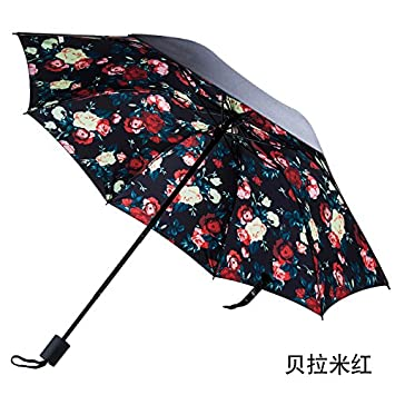 CWAIXX Mujer de flores lluvia paraguas plegable doble uso agua vinilo limpia sombra sol protección sombrilla