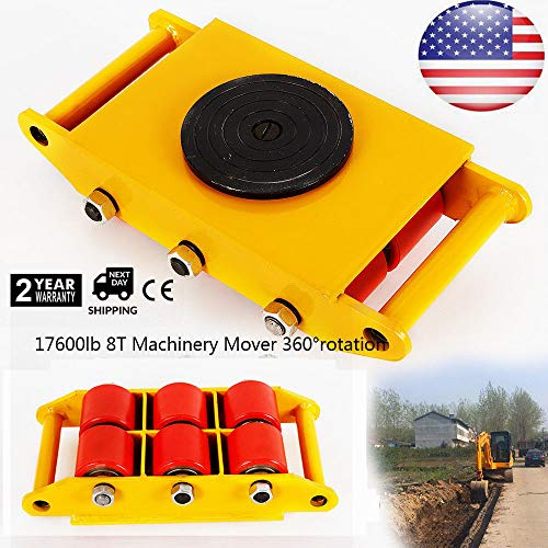 8T 17600lb Industrial Machine Dolly Skate Roller Machinery Mover 360 Rotation Cap