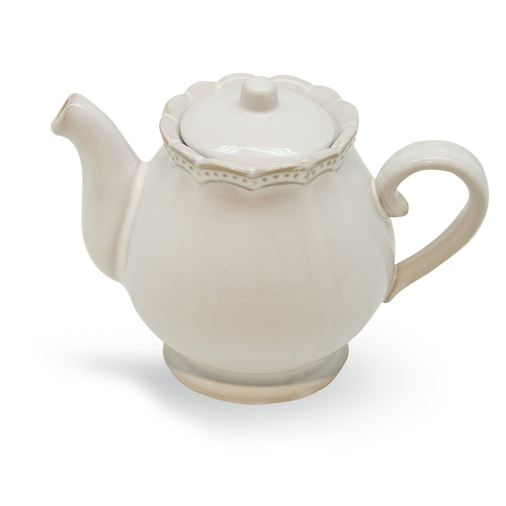 Creamy White Vintage Floral Embossed Teapot