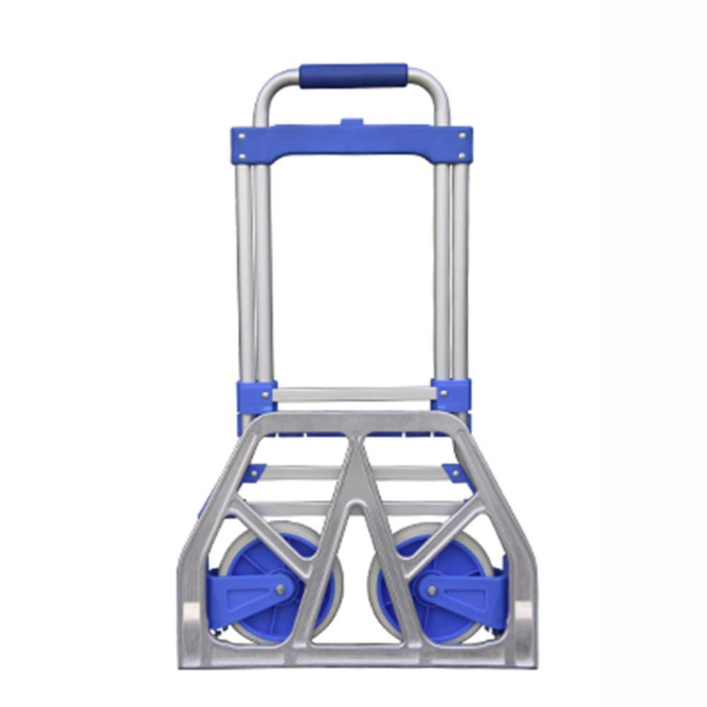 ショッピングキャリー 折りたたみヘビーデューティーハンドトラック、多機能アルミ製ポータブル高さ調整可能なユーティリティカート車輪付き (色 : 青)  青 B07H496XQK