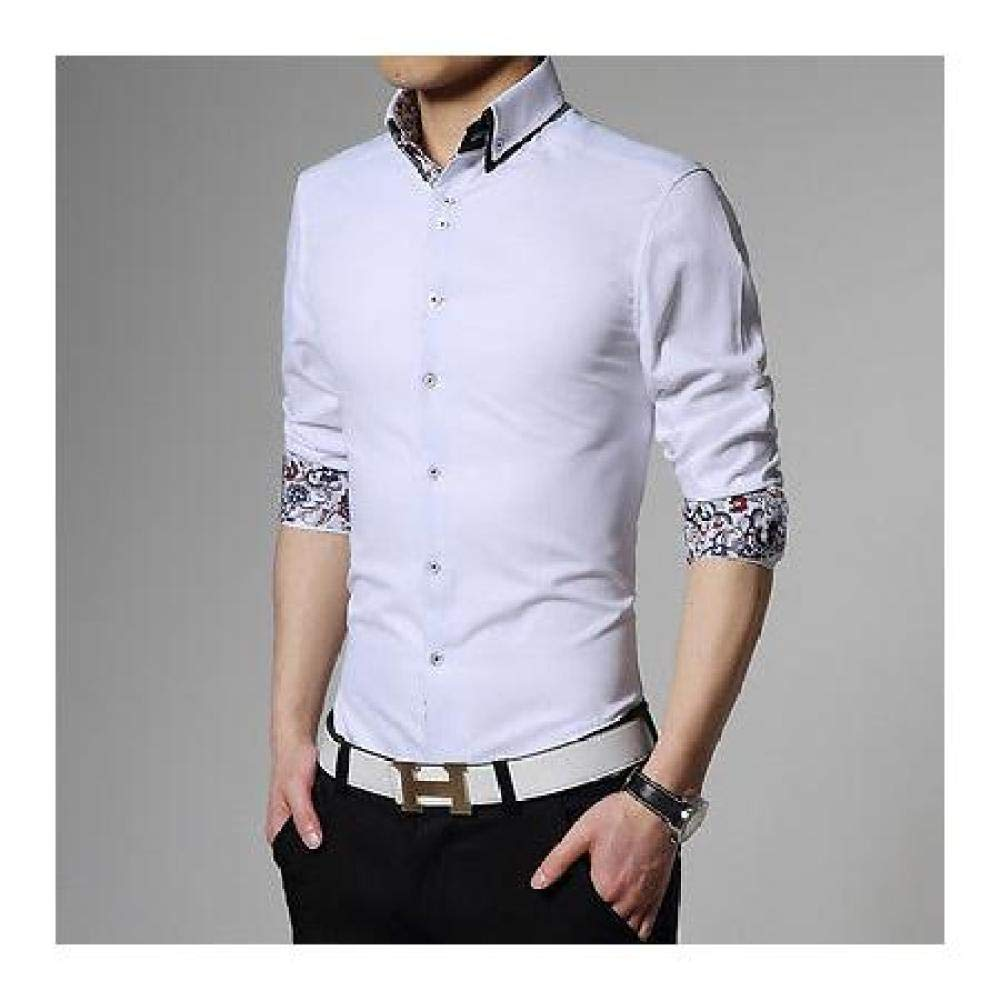 5c7673d547 Fidgetgear new top fashion mens luxury korean casual slim fit stylish dress  shirts color white us