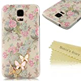 S5 Case,Galaxy S5 Case - Maviss Diary 3D Handmade Bling Crystal Cute Butterfly Sparkle Glitter Diamonds Fashion Floral Pink Flowers Design Hard Cover for Samsung Galaxy S5 I9600 2014 with Clean Cloth