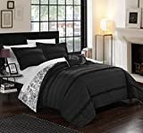 Chic Home 4 Piece Eliza Pleated And Ruffled Reversible Paisely Floral Print Duvet Cover Set Shams And Decorative Pillows Included, King, Black