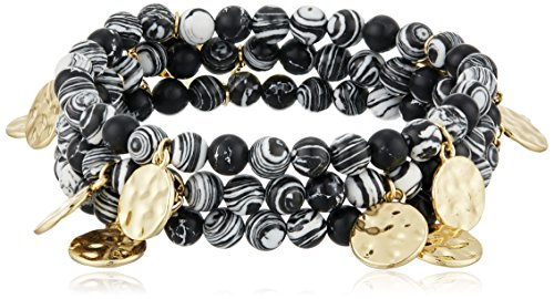UPC 724445317522, Jessica Simpson Beads and Coins Stormy Marble/Zebra Jasper/Antique Gold Stretch Bracelet