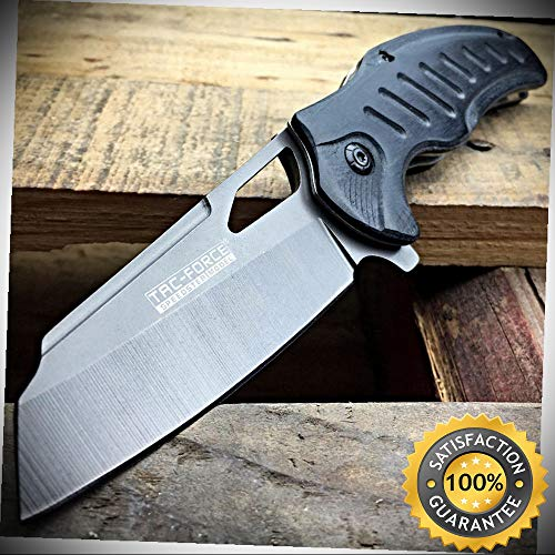 Wood 599 (8'' TAC-FORCE TITANIUM Cleaver Spring Assisted Open FOLDING Pocket Knife Wood EDC - Outdoor For Camping Hunting)