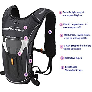 Hydration Backpack Pack With 2L BPA FREE Bladder - Lightweight Pack Keeps Liquid Cool Up to 4 Hours - Great Storage Compartments - Outdoor Sports Gear for Running Hiking Cycling Skiing