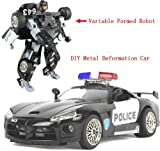 SuPoo® DIY Transformers Police Car Alloy Car Models Robot Deformation Best TOY Birthday Gifts