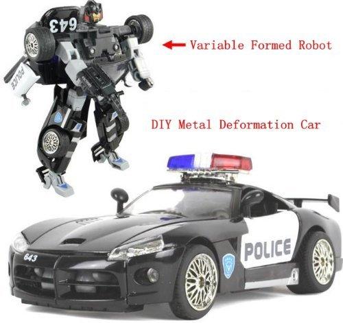 SuPoo® DIY Transformers Police Car Alloy Car Mode…
