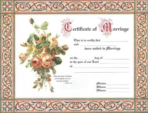 Certificate of Marriage: Package of 6