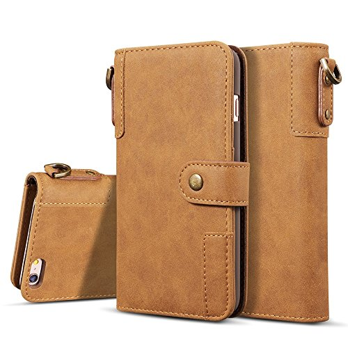 SRY-Bolsa para teléfono móvil para iPhone 6 / 6s Funda de cuero premium con soporte para billetera y ranuras para tarjetas ( Color : Brown ) Brown