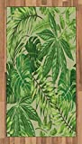 Ambesonne Green Leaf Area Rug, Exotic Pattern with Tropical Leaves Fresh Jungle Aloha Hawaii, Flat Woven Accent Rug for Living Room Bedroom Dining Room, 2.6 x 5 FT, Fern Green Apple Green Beige