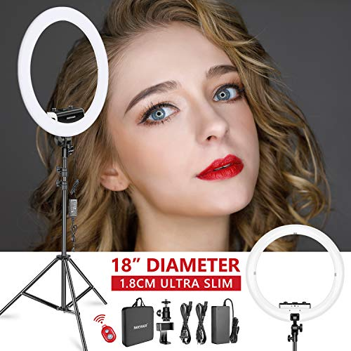- Neewer Ring Light Kit [Upgraded Version-1.8cm Ultra Slim] - 18 inches, 3200-5600K, Dimmable LED Ring Light with Light Stand, Rotatable Phone Holder, Hot Shoe Adapter for Portrait Makeup Video Shooting