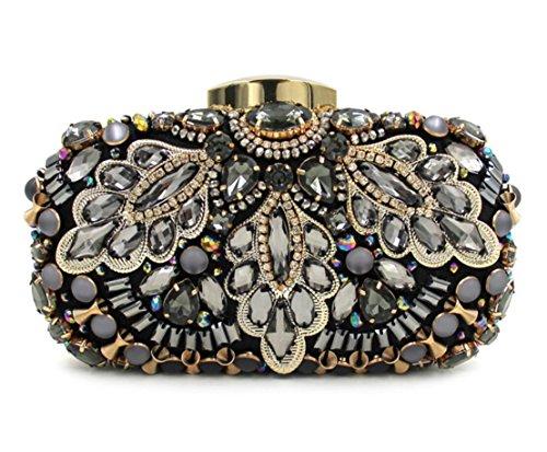 XYXM embrague de las señoras de cristal de lujo de la cena Pack Heavy Duty bolas de plata de bolsos de bolsos bolso de hombro paquetes de vestir , silver Black
