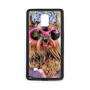 [With Sunglasses] Yorkie with Pink Sunglasses. Cases for Samsung Galaxy Note 4, Samsung Galaxy Note 4 Case {Black}