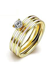 CHIC White Zircon Gold Plated Stainless Steel Ring Jewelding Rings And Bague