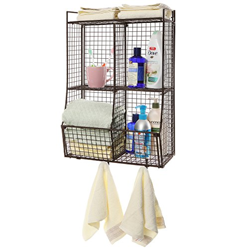 Wall Mounted/Collapsible Brown Metal Wire Mesh Storage Basket Shelf Organizer Rack w/ 2 Hanging Hooks (Brown Wall Metal)