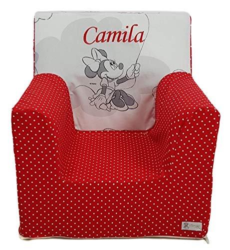 Borda y más Sillón o Asiento Infantil Personalizado de Espuma para bebés y niños. Varios Modelos y Colores Disponibles. (Minnie Sentada)