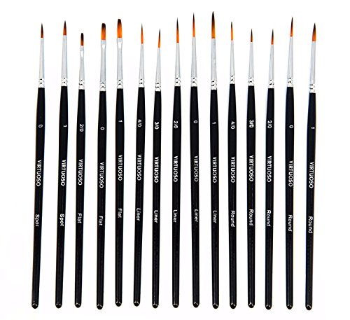 Virtuoso 15-Piece Fine Paintbrushes, Handmade Detail Paint Brush Set - For Acrylic, Watercolor, Oil - Includes Deluxe Carry-Case - Detail Fine Art