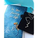 Smiling Wisdom - Bike Themed Courage & Strength Inspirational Journey Gift Set - Greeting Card - Women's Rhodium Plated Journey Necklace - Great Birthday, Grad, Friendship Gift Set For Her