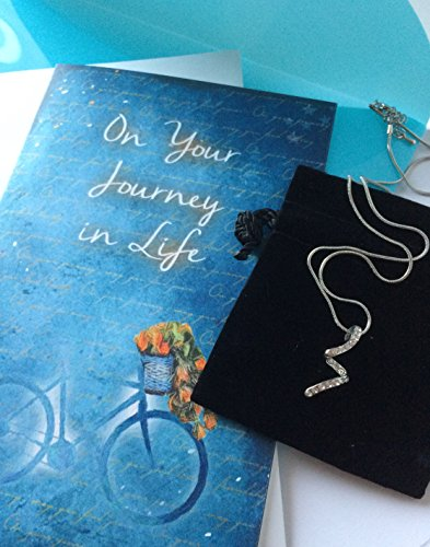 Journey Necklace Set - Smiling Wisdom - Bike Themed Courage & Strength Inspirational Journey Gift Set - Greeting Card - Women's Rhodium Plated Journey Necklace - Great Birthday, Grad, Friendship Gift Set For Her