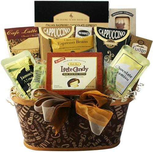 Crazy for Coffee Gourmet Food and Snacks Gift Basket (Chocolate Option) (Retirement Baskets)