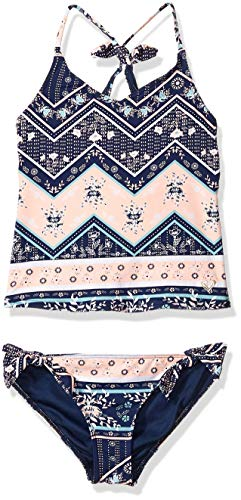 Roxy Big Girls' Heart in The Waves Tankini Swimsuit Set, Medium Blue Newport Border Southwest, 7