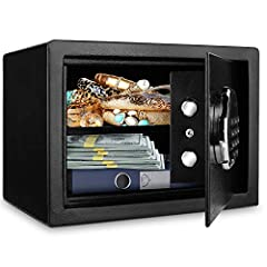 Security Digital Electronic Money Lock Box with Keypad, Wall Mount Safe for Home & OfficeDesign Concept The safe box has a modern appearance, and provides a wide independent space inside, with solid metal construction and digital password...