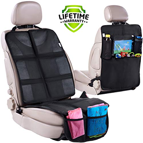 Car Seat Protector + Rear Seat Organizer for Kids – Waterproof & Stain Resistant Protective Backseat Kick Mat W/Storage Pockets & Tablet Holder – Baby Travel Kickmat & Front/Back Seat Cover Set