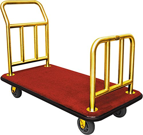 High Quality Titanium Gold Plated Hotel Luggage Cart Bellman Cart Trolley service (Wheel Bellman Cart)