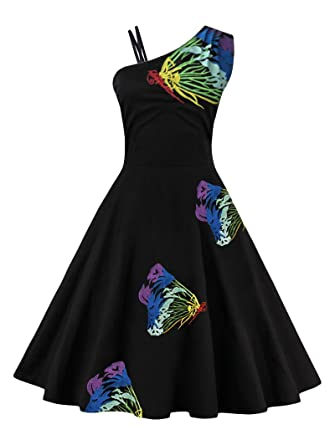 Cotton Dress For Women Butterfly Printing Elegant Pattern 60s Vintage Dress Feminino Vestidos Swing Dress,