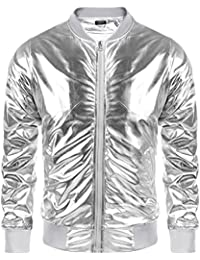 78b6352d607 Men s Metallic Nightclub Jacket Slim Fit Zip Up Varsity Baseball Bomber  Shiny Party Dance Disco Jackets