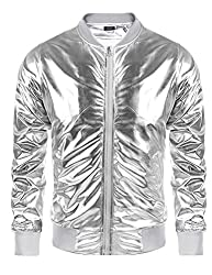 Metallic Nightclub Jacket Slim Fit Zip Up