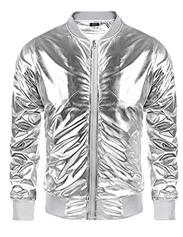 Coofandy Men's Metallic Nightclub Style Zip Up Varsity Baseball Bomber Jacket (Mens Metallic Silver Jacket)