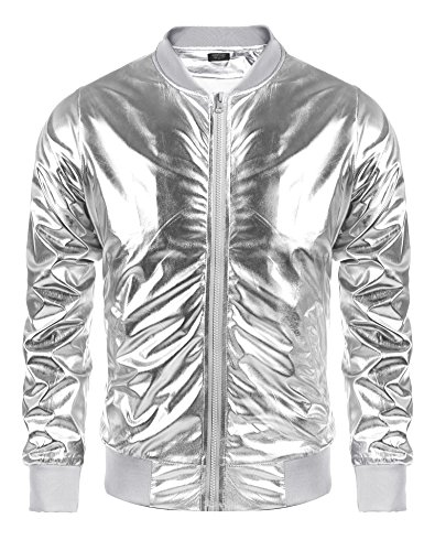 Coofandy Mens Metallic Nightclub Varsity Jacket Shiny Button Zip-up Baseball Bomber For Party,Disco,Dance,Silver,Medium from COOFANDY