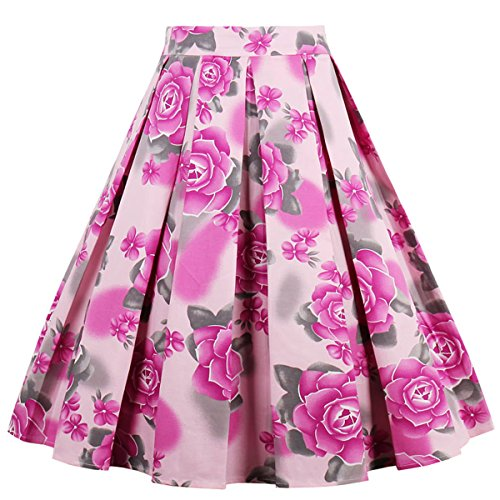 Dressever Women's Vintage A-line Printed Pleated Flared Midi Skirt Red Flower XX-Large