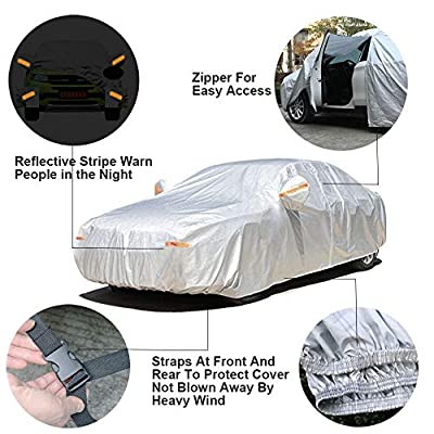 SEAZEN Car Cover 6 Layers, Waterproof Sedan Car Cover with Zipper Door, Snowproof/UV Protection/Windproof, Universal Car Covers Breathable Fabric with Cotton (185''-200''): Automotive