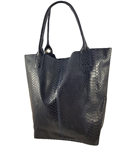 Made Women's Bag Snake Italy Dunkelblau Tote FreyFashion in UPdzxwx