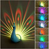 Peacock Night Light Projector for Kids, Zoneled Color Changing LED Night Light Lamp with Touch Control & Remote Control for Baby Nursery Bedroom Decor