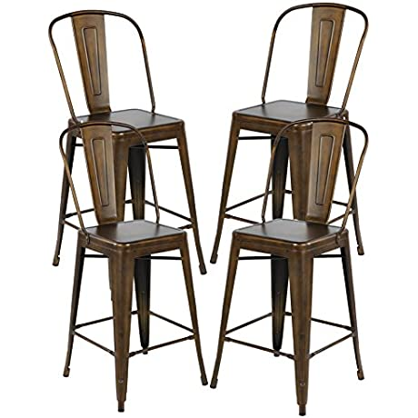 26 Inch Industrial Distressed Metal Counter Height Bar Stools With Backs Set Of 4 Vintage Tolix Cafe Chairs Antique Copper