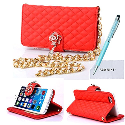 """iPhone 6 Case, iPhone 6 4.7"""" Leather Case, ACO-UINT Luxury Elegant Design Wallet Purse Leather Credit Card Holder Case Cover for iPhone 6 4.7"""" with Pearl Wrist Strap, One 2 in 1 Diamond Shining Stylus Pens/2 Screen Protector/ACO-UINT Microfiber Cleaning Cloth Included (Pearl Strap - hot red)"""