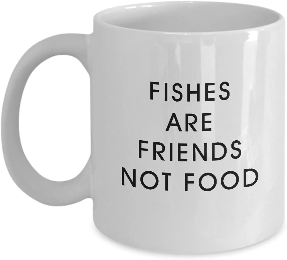 Fish are friends not food mug - funny fishes lover coffee cup, 11oz