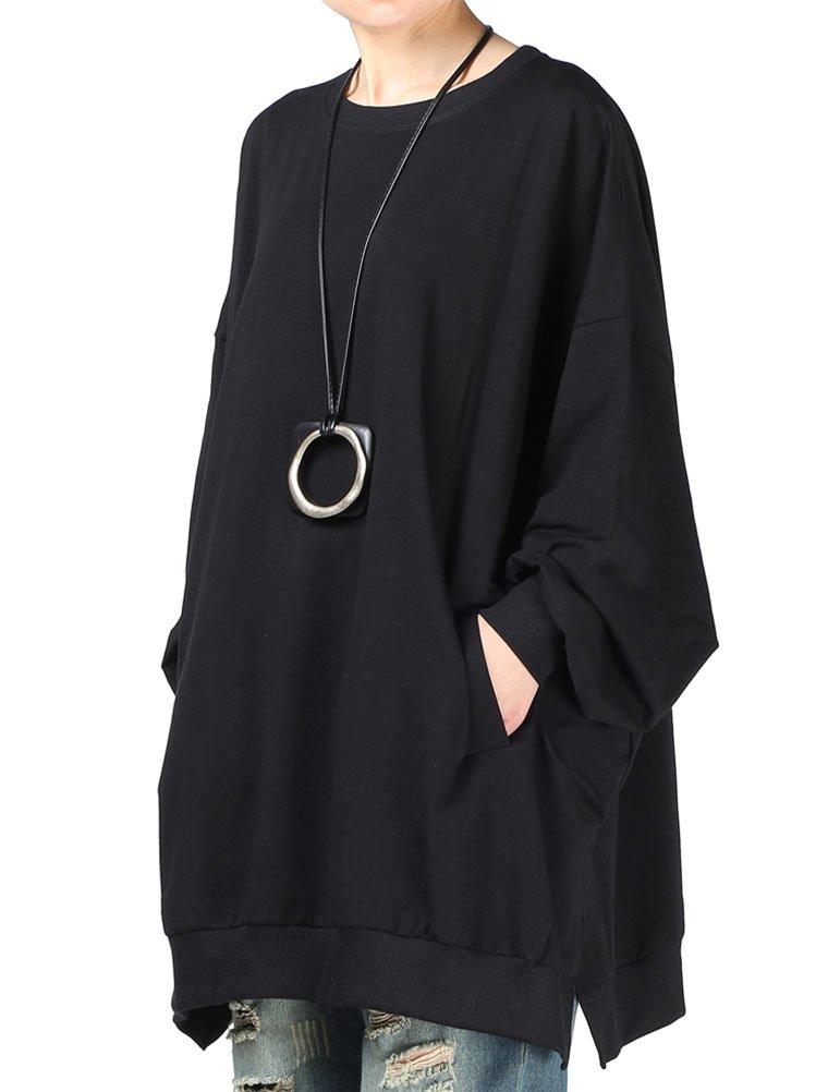Mallimoda Women's New Oversized Shirt Dress Long Sleeve Tunic Top Sweatshirt